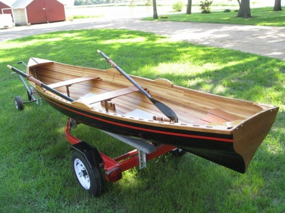 SOLD: 15' Cypress-Striped Rangeley-Style Rowboat